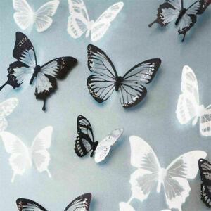 18-Stk-Wandtattoo-Wandaufkleber-Sticker-3D-Schmetterling-Schwarz-Weiss-Dekor-E6E1