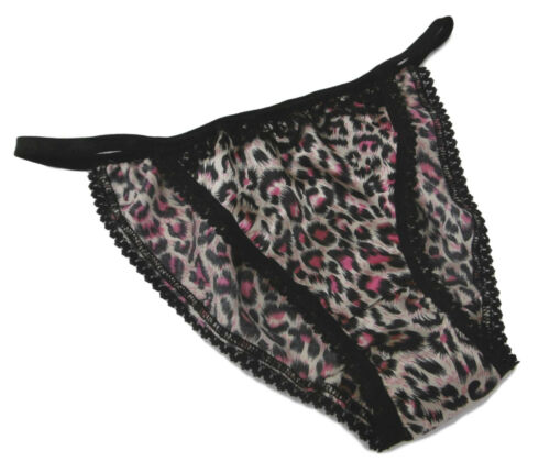 PINK LEOPARD shiny SATIN panties TANGA string bikini black lace  Made in France