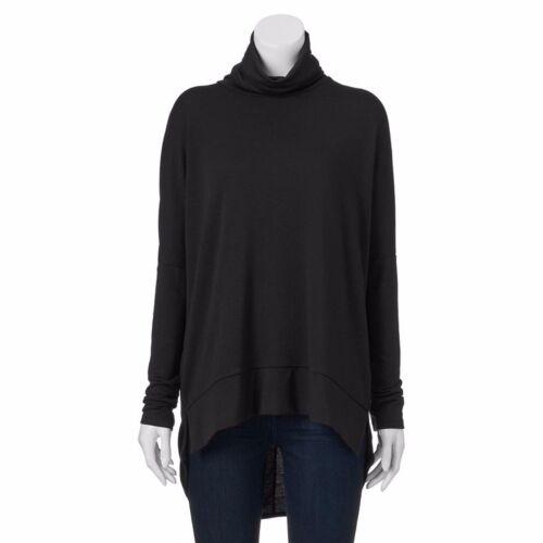 Ransom Womens Junior M L XL Oversize Turtleneck Knit Top High-Low Hem New $40