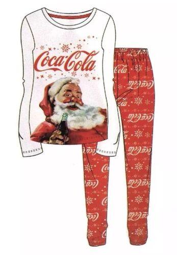 Coca Cola Santa Claus Ladies White /& Red PJ Set Pyjamas Womens Christmas
