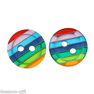 """HX 100PCs Round Rainbow Resin 2 Holes Sewing Button 12mm( 4/8"""") Dia."""