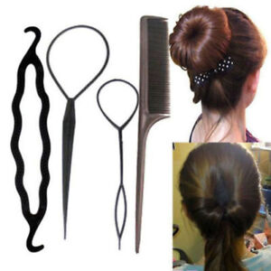 Details About 4pcs Ponytail Creator Plastic Loop Styling Tools Black Topsy Pony Tail Clip Hair