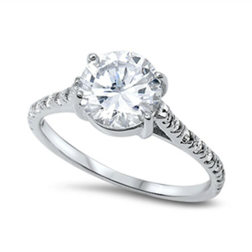 Clear CZ Round Solitaire Bridal Wedding Ring 925 Sterling Silver Band Sizes 3-13