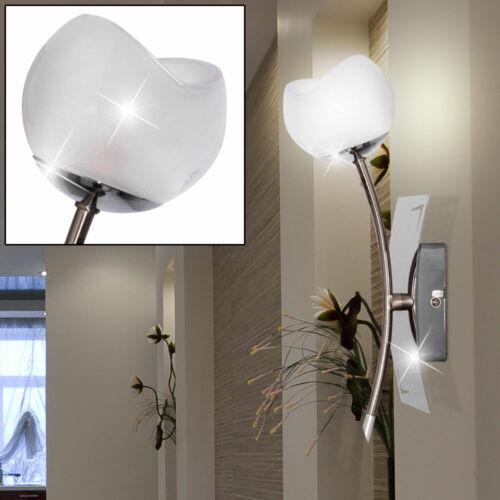 Wand Fackel Leuchte Wohn Zimmer Chrom Beleuchtung Glas Strahler Spot Lampe weiß