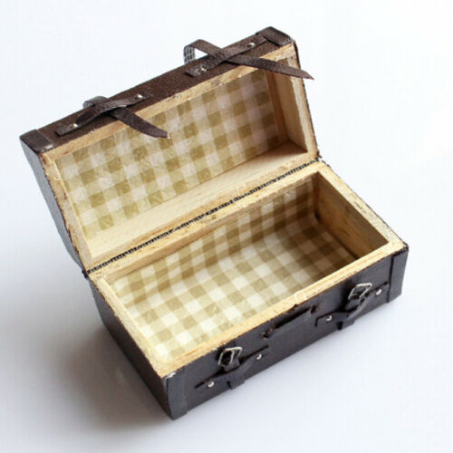 Vintage Dollhouse Miniature Faux Leather Wood Suitcase Mini Luggage Box DB