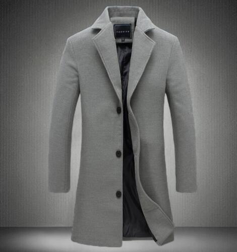 Chic élégant Homme Mélange Laine Pardessus Slim fit longue Trench Coat Business Casual