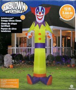 Halloween-Gemmy-12-ft-Kaleidoscope-Creepy-Circus-Clown-Airblown-Inflatable-NIB