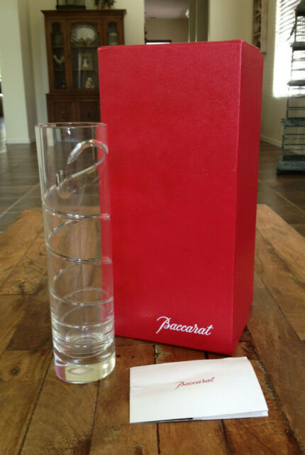 Baccarat Crystal Rouge Swirl Bud Vase 7 7/8' Mint in Box