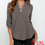 thumbnail 4 - Women's Summer Loose V Neck Chiffon Long Sleeve Blouse Casual Collar Shirt Tops