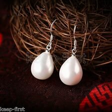 Fashion Natural White 12x16mm Drip Mother of Pearl Shell Silver Hook Earrings