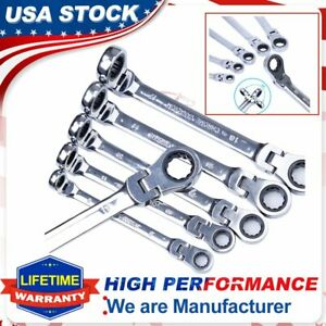 6Packs Double Box End Ratcheting Wrench Flex Head Extra Long Spanners Set Metric