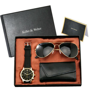 Casual Men's Analog Quartz Wrist Watch Sunglasses Leather Key Holder Gift Set
