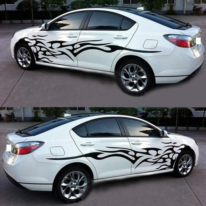 2x Black Flame Logo Car Sticker Graphics Side Door Body