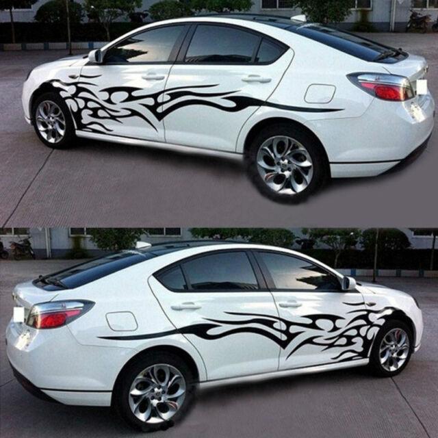 2x black flame logo car sticker graphics side door body reflective decals vinyl