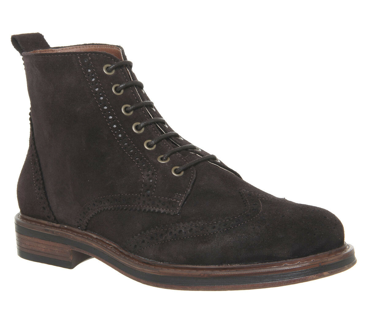 Mens Office Interpreter Brogue Boots Chocolate Suede Boots