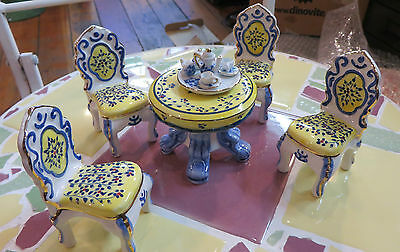PORCELAIN DOLL HOUSE FURNITURE DINING TABLE & 4 CHAIRS W/ 24 KARAT FIRED ON GOLD
