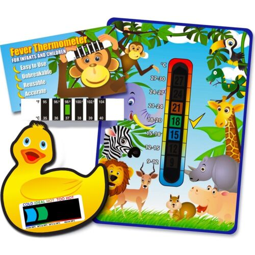 Pack of /'Happy Family/' Jungle Animal baby room bath and forehead thermometers