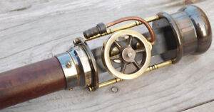 Vintage-Nautical-Working-Steam-Engine-Model-Wooden-Walking-Cane-amp-Stick-Replica