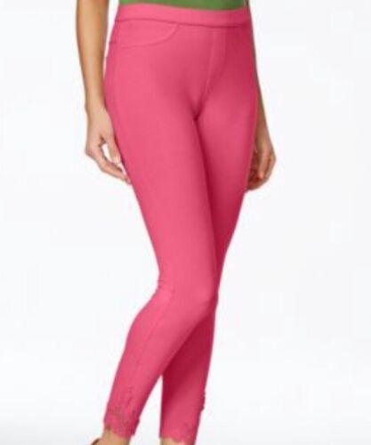 Hue U16649 Lace Trim Pique Skimmer Women Cotton Blend Pink Lemonade Size M NWT