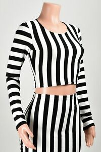 Black and White Striped Shirt Halloween Top Referee Cropped Top Beetlejuice Crop Tee