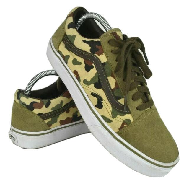 J.Crew Vans Old Skool Mens 8.5 Womens 10 Camo Print Suede Skate Shoes Sneakers