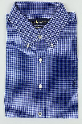 Polo Ralph Lauren Blue Navy Plaid Button Down Custom Fit Dress Shirt NWT