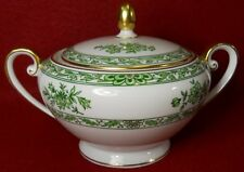 TIRSCHENREUTH china #4352 GREEN FLOWERS Sugar Bowl and Lid