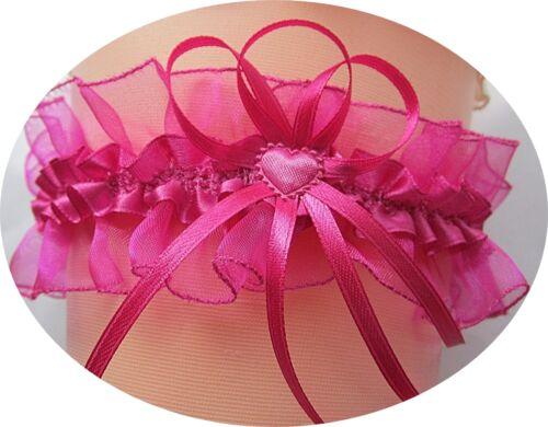 Liga novia rosa pink corazoncito bucles boda disfraz nuevo UE