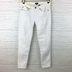 J-Crew-Women-039-s-White-Jeans-Toothpick-Stretch-Jeans-Skinny-Straight-Leg-size-28