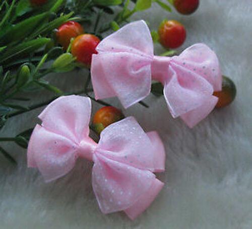 20pcs Organza Ribbon Flowers Bows with Mini Dots DIY//Wedding//Applique Craft A929