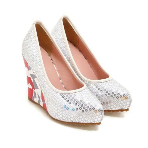 à New semelles compensées femmes hauts Talons à Sz 10 5 à et talons talons chaussures hauts apparents pour RjL345A