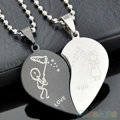 FUNNY CUTE STAINLESS STEEL HALF LOVE HEART SHAPED COUPLE LOVERS PENDANT NECKLACE