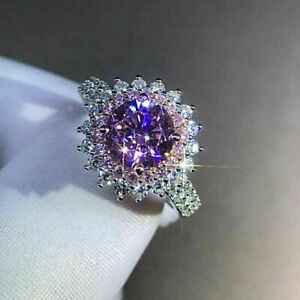 AT Jewels 1//2 CT Round Cut Pink Sapphire Solitaire Engagement Ring 14k White Gold Over 925 Sterling Silver