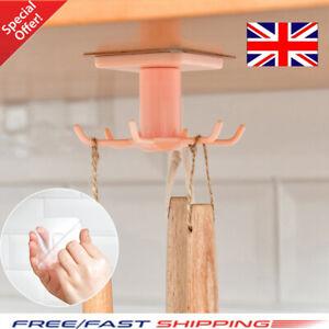 Kitchen-Hook-Mug-Cup-Holder-Under-Shelf-Hanger-Cupboard-Storage-Rack-6-Hooks-UK