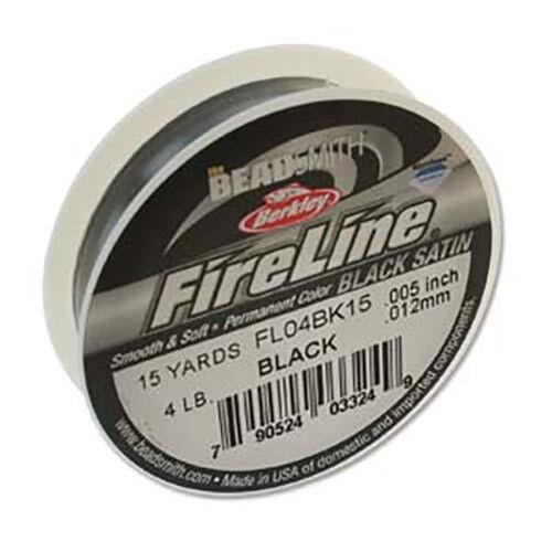 Beadsmith Fireline HILO Alambre Trenzado Negro Encordado material 3 Tamaños