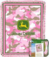 John Deere Pink Camouflage Girls No Sew Fleece Throw Kit - Finished Size 43x55