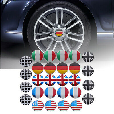 4x 56mm 3D Alloy Car Wheel Center Hub Cap Badge Flag Emblem Sticker Universal