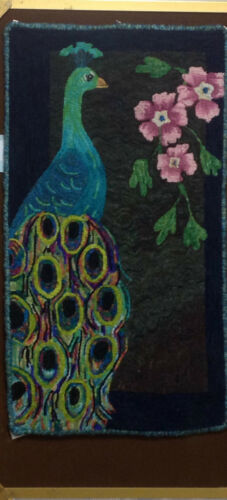 "Rug Hooking Pattern /"" PRIMITIVE PEACOCK/""  on natural linen"
