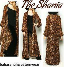 THE SHANIA COWGIRL GYPSY LEOPARD CHEETAH DUSTER Kimono Cardigan Western BOHO L