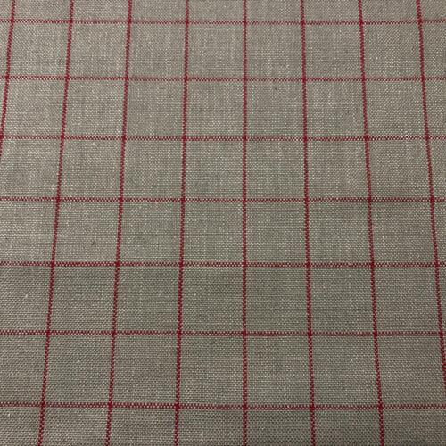 Tela de cuadros de tizaTapicería Cortinas Persianas 100/% LinoRojo Blanco Gris