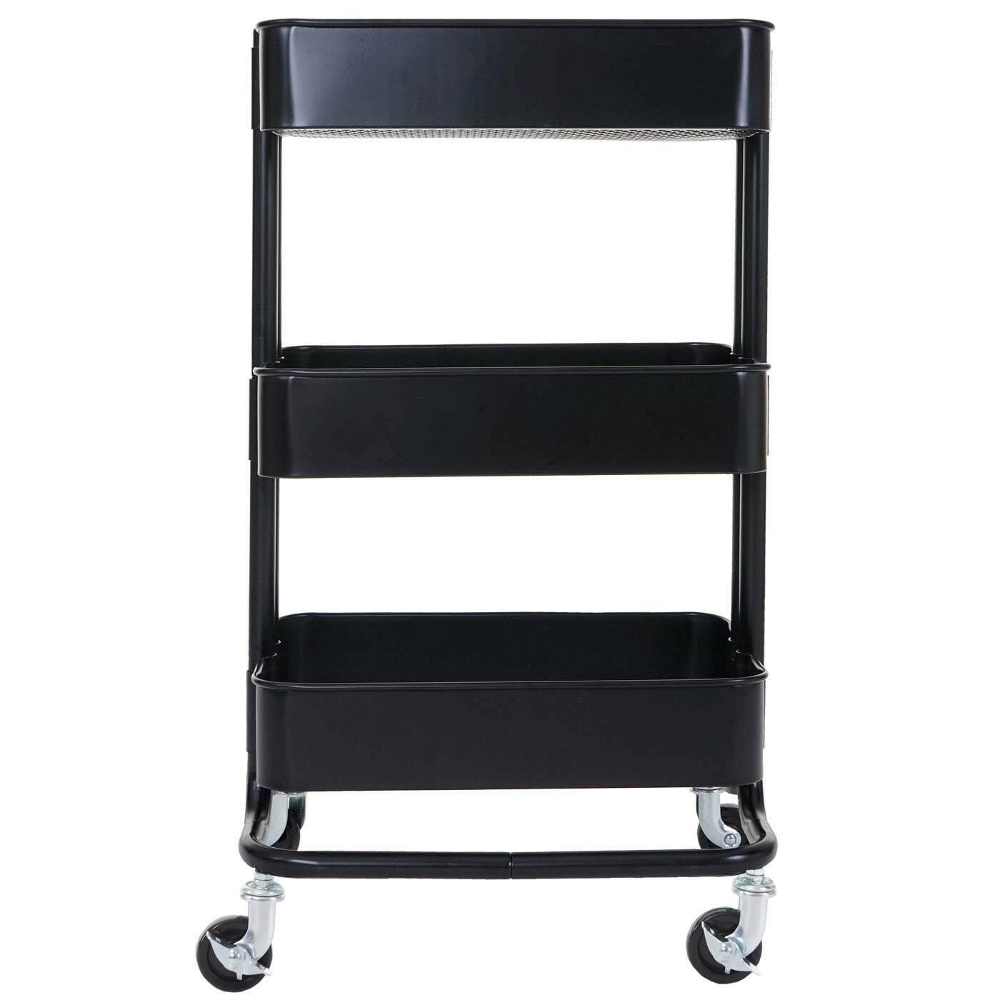 Trolley MCW-C64, Kitchen Trolley Bar Tea Cart Trolley 79x44x37cm Black