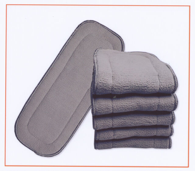 10x Nappy Inserts For MCN New 5 Layers Bamboo Washable Reusable Charcoal 11*27cm