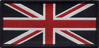 Union Jack UK British Flag Woven Badge Patch Red White & Black 9.8 x 4.9cm