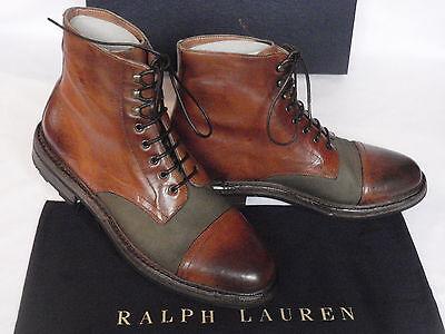 NEW Mens Ralph Lauren MACOMB Tan Brown Leather Boots UK 10.5 USA 11.5 RRP £542