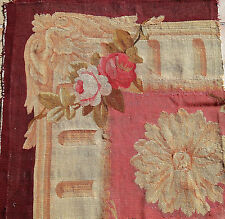 French antique 1800s hd made Aubusson pcs cabbage roses acanthus leaf sunflowers