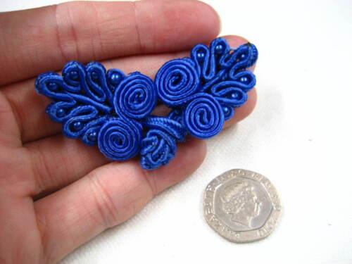 Antiguo Oscuro Azul Vestido De Mariposa sujetador de rana Tarjeta Hazlo tú mismo Gancho Y Ojal de nudo
