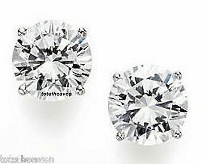 6 Carats tw 9mm Solid 14K Yellow Gold AAA D-Flawless CZ Stud Earrings SPARKLING