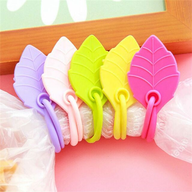 5x Food Snack Bag Storage Sealing Clips Ziplock Home Leaves Silicone S