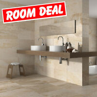 50x27 Matt Cream Stone Effect Ceramic Wall&Floor Tiles Adhesive+Grout 10-20sqm