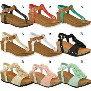 5b4505588e Image is loading Ladies-Womens-Wedge-Comfort-Sandals-Cushioned-Flip-Flops-